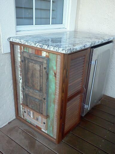 Outdoor Bar Cabinet: Repurposed Shutters And Wood W/ Refrigerator And  Granite Top
