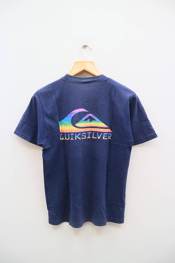 7e3aec8bd626a Vintage QUIKSILVER Surfing Surf Aloha Hawaii Big Logo Big Spell Blue ...