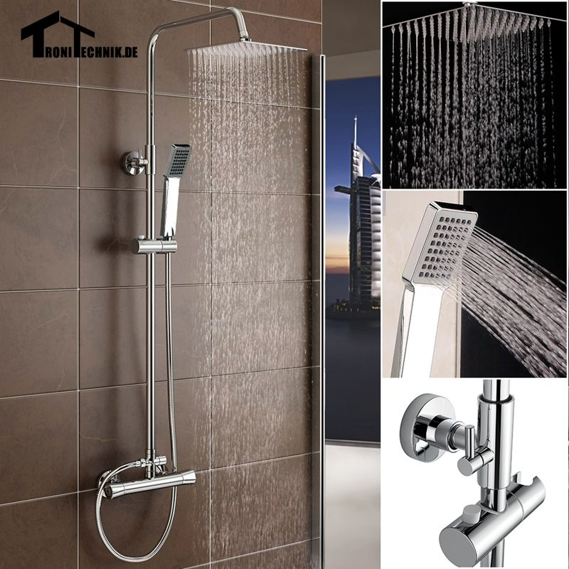 Chrome Thermostatic Water Shower Faucet Set Bath Tub Shower Mixer ...