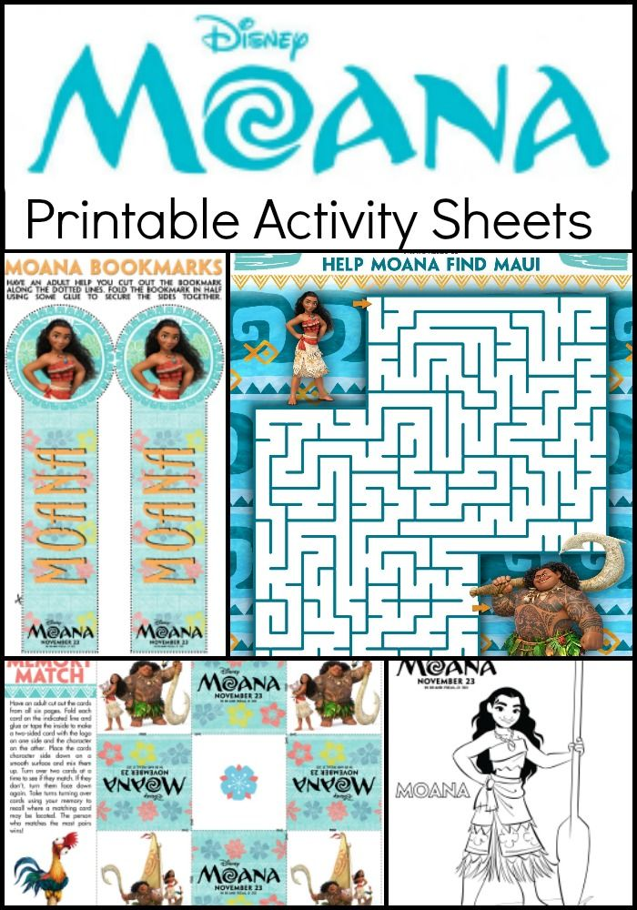 Moana Coloring Pages and Kids Activity Sheets - Printable ...