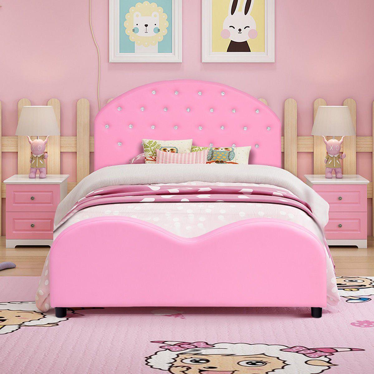 Costway Kids Children Pu Upholstered Platform Wooden Princess Bed Bedroom Furniture Pink Walmart Com In 2020 Pink Bedroom Furniture Childrens Bedroom Furniture Bedroom Furniture Design