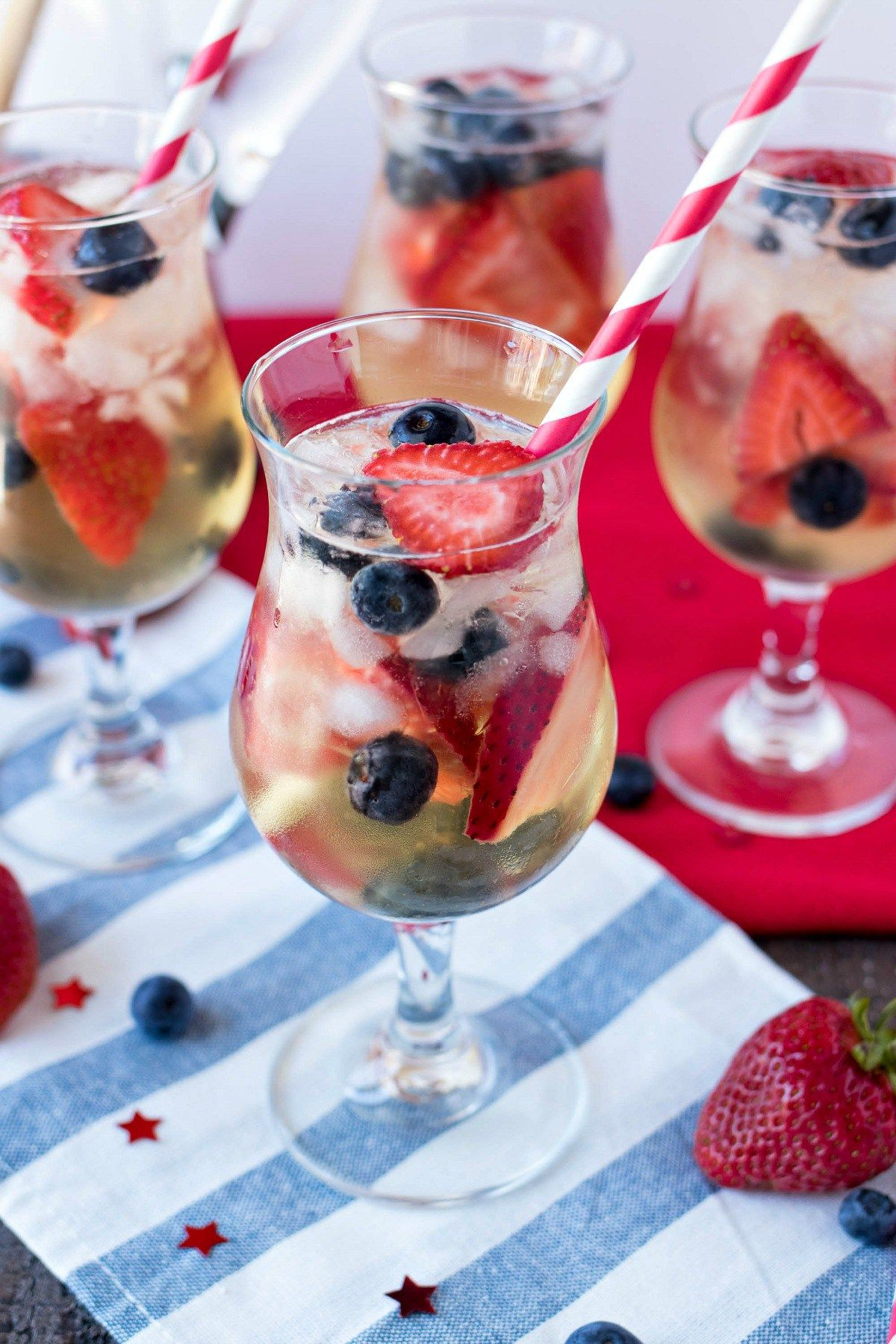 Red White Blue Sangria A Refreshing White Sangria Made With Dry White Wine Brandy Best White Sangria Recipe Easy Sangria Recipes 4th Of July Cocktails