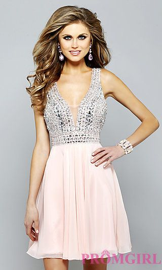 Short V-Neck Faviana Homecoming Dress at PromGirl.com | Dance, dance ...