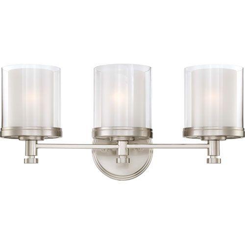 Nuvo Lighting Decker Brushed Nickel Three-Light Vanity Fixture w ...