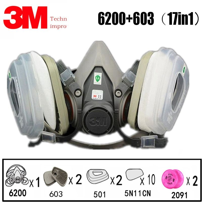17 In 1 3m 6200 Industrial Half Mask Spray Paint Gas Mask Respiratory Protection Safety Work Dust Proof Respirator Mask Filter In Chemical Respirators From Secu Di 2020
