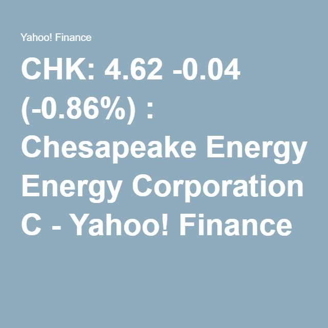 Yahoo Stock Quotes Chk 4.62 0.04 0.86%  Chesapeake Energy Corporation C  Yahoo .