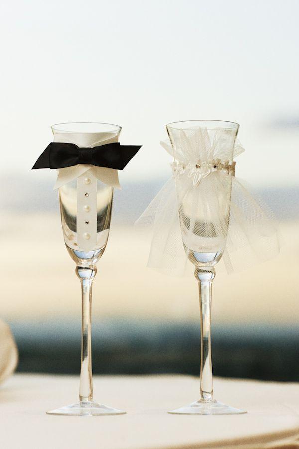 Ongebruikt versiering voor champagneglazen bruidspaar   Casamentos verdes QA-72