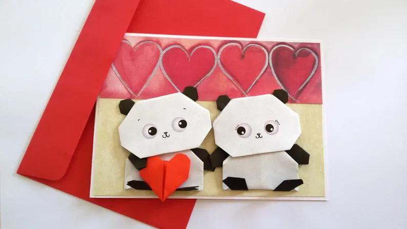 Photo of Cute Panda Anniversary card, Origami Bear card, Wedding Card, Panda Love, Romantic card