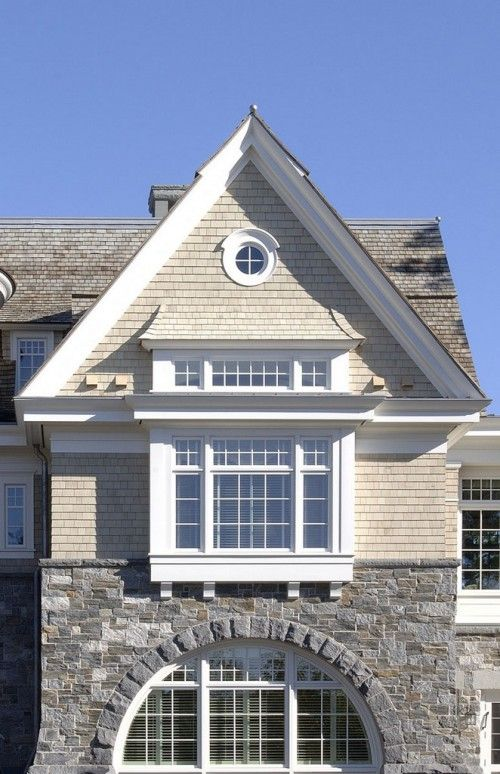 Shingle And Stone Box Window Keyhole Window Awesome Shingle Style Homes Shingle Style Architecture House Exterior