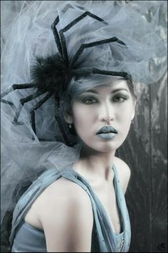 halloween beauty sliver blue lips headpiece tulle on to a headband add spider
