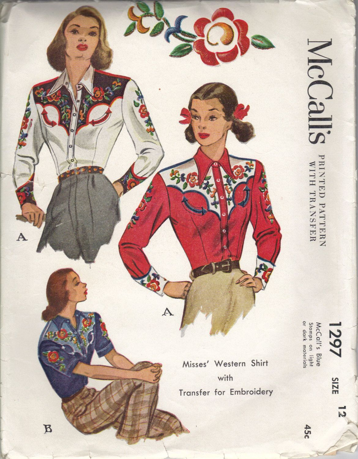 1940s mccalls 1297 pattern for western shirt with embroidery 1940s mccalls 1297 pattern for western shirt with embroidery bankloansurffo Gallery