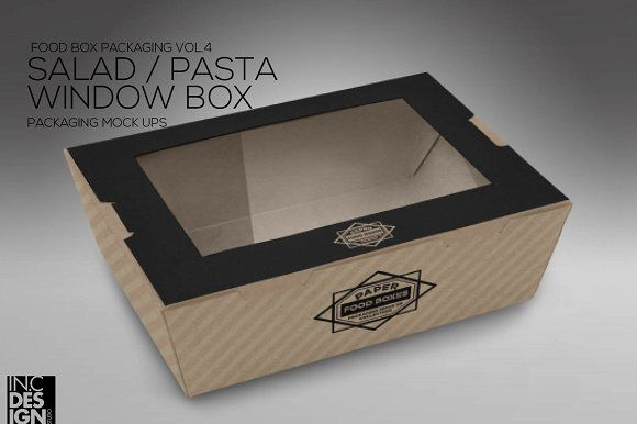 Download Clamshell Window Box Mockup Food Box Packaging Food Mockup Salad Box
