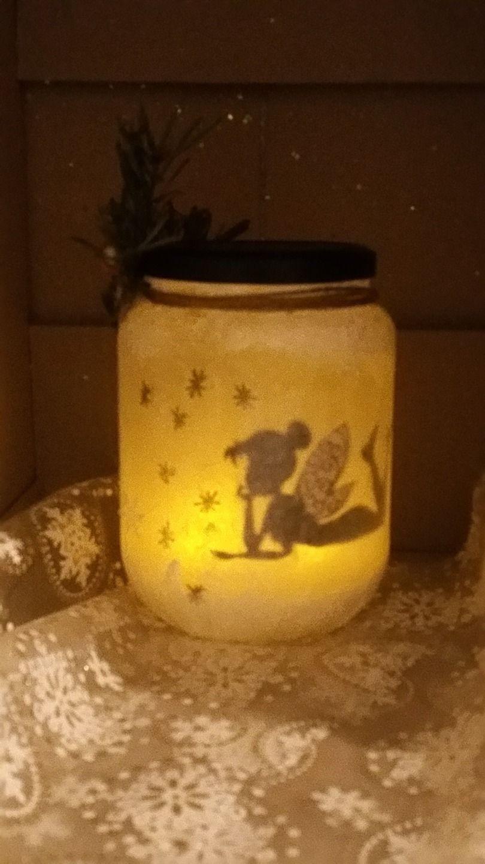 """Photophore À Faire Soi Même lanterne photophore """" fée allongée"""" avec étoiles avec bougie"""
