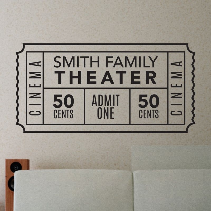 Retro Home Theater Design: Personalized Family Movie Theater Ticket