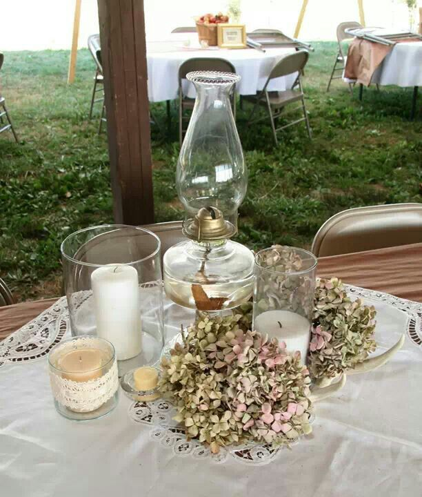 Country wedding table settings oil lamps pinterest