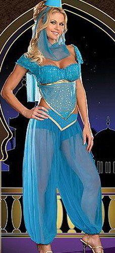 Blue Princess Jasmine Genie Belly Dancer Arabian Nights Fancy Dress  Costume