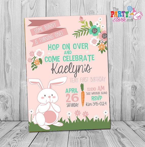 bunny birthday invitations printable girls party invitation pink