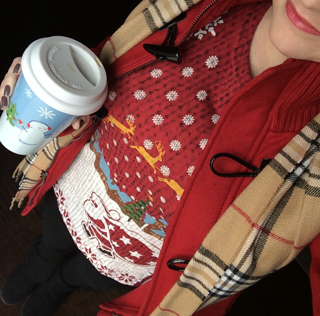 Christmas tee & plaid scarf