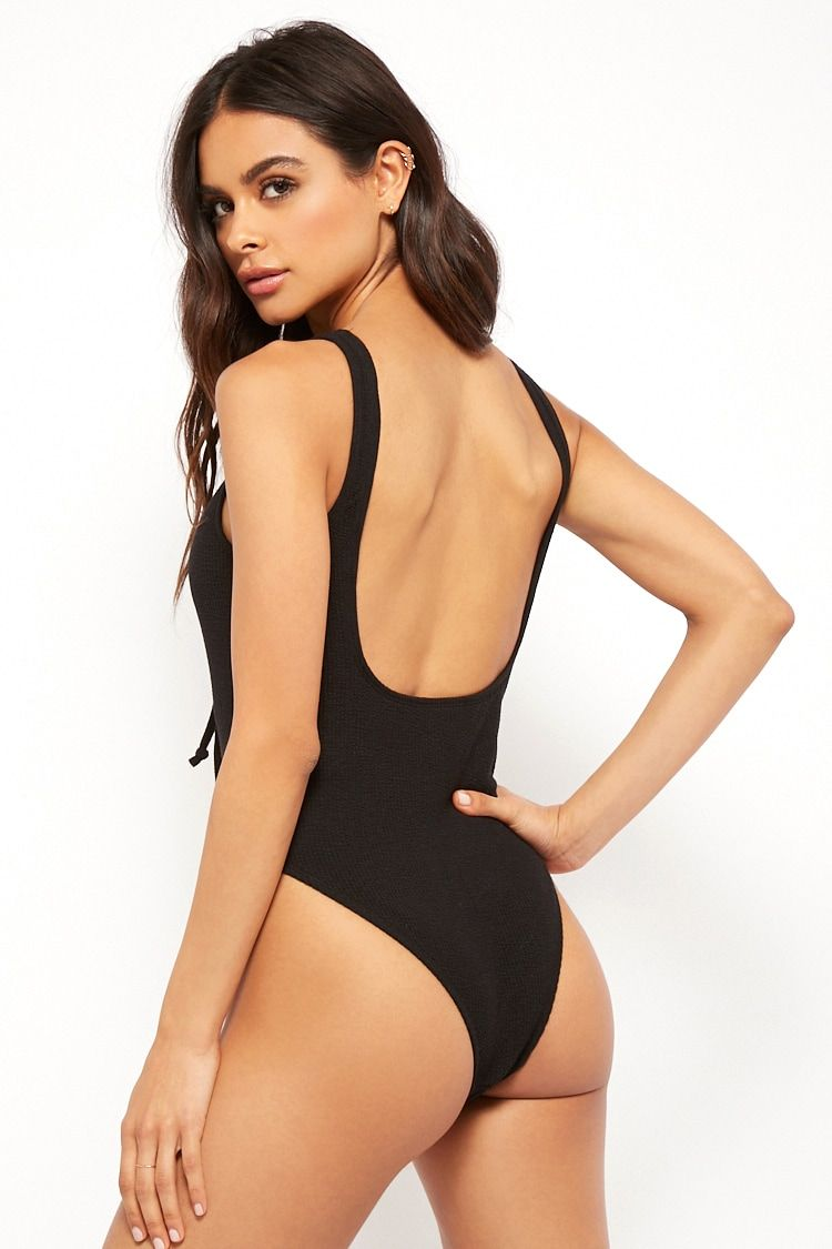 7269f1dc132 Motel Ribbed Tie-Front One-Piece Swimsuit #Affiliate , #affiliate, #Tie, # Ribbed, #Motel, #Swimsuit, #Piece