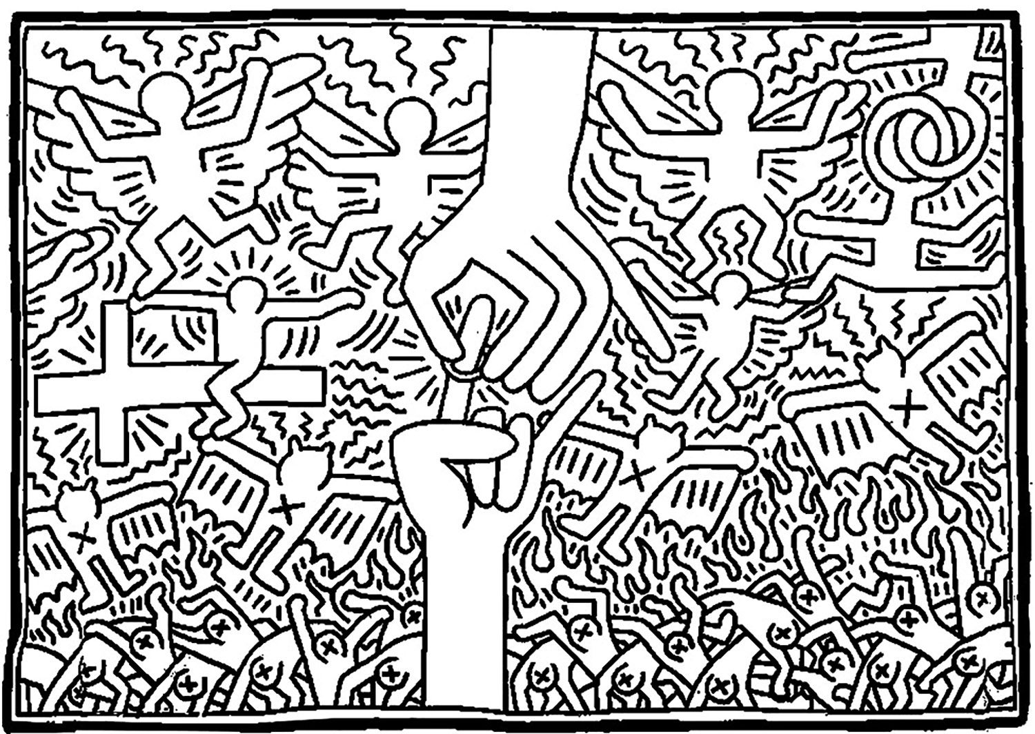 Coloring Page Created From A Keith Haring Painting