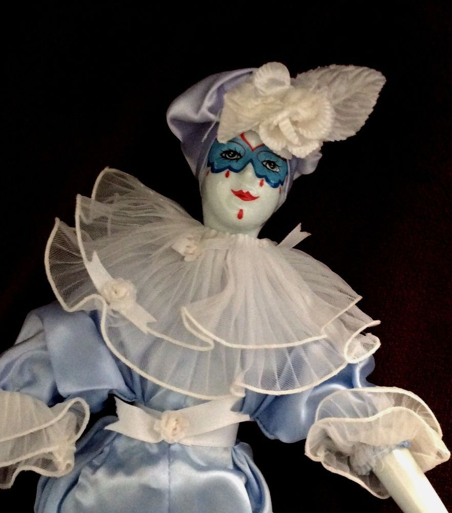Large Vintage Porcelain Faced Collectible Harlequin Jester Clown Doll