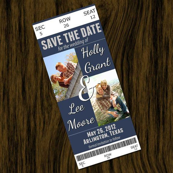save the date invitation card ticket style football basketball