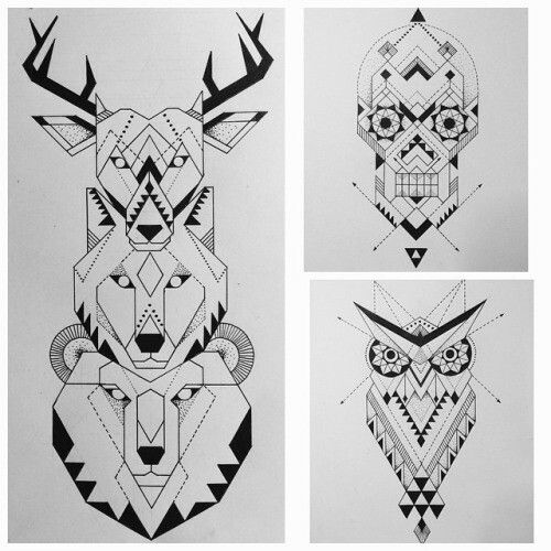 Sacred geometry animals and Skull
