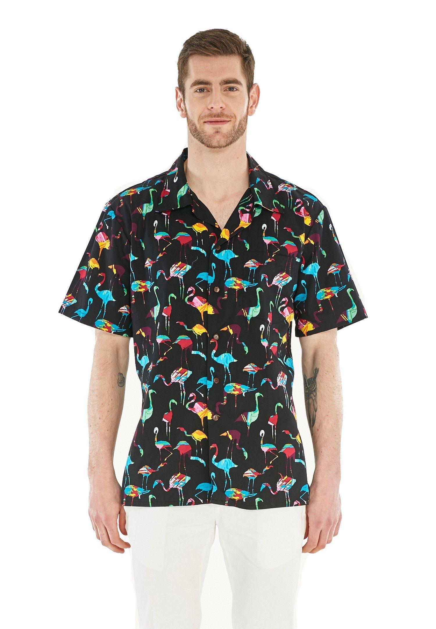 c76898b83 Men Hawaiian Aloha Shirt in Flamingo Party Black   Flamingos ...