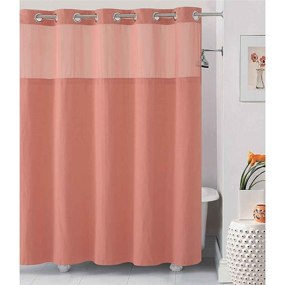 Hookless Waffle 54 X 80 Stall Fabric Shower Curtain In Coral