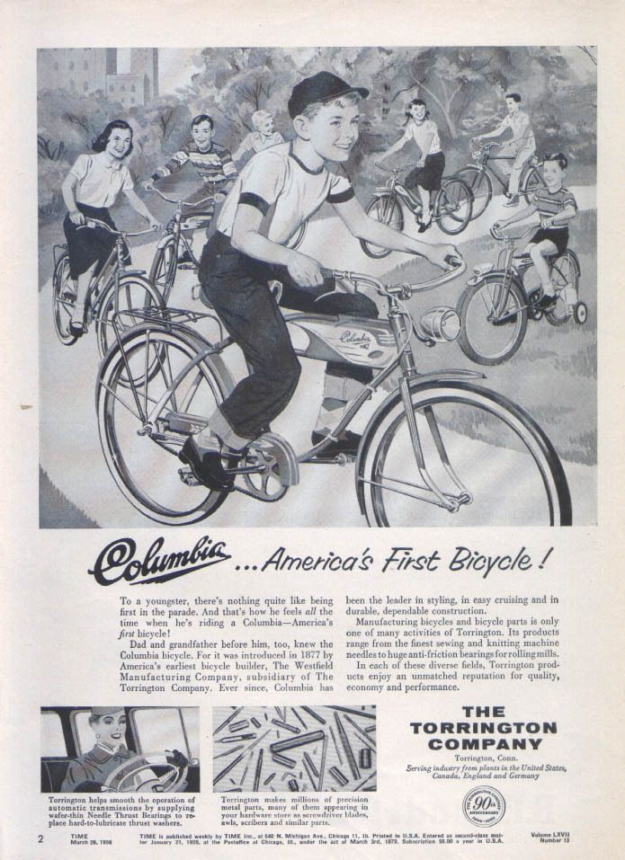 Columbia Bicycle America S 1st Torrington Company 1956 Bicycle