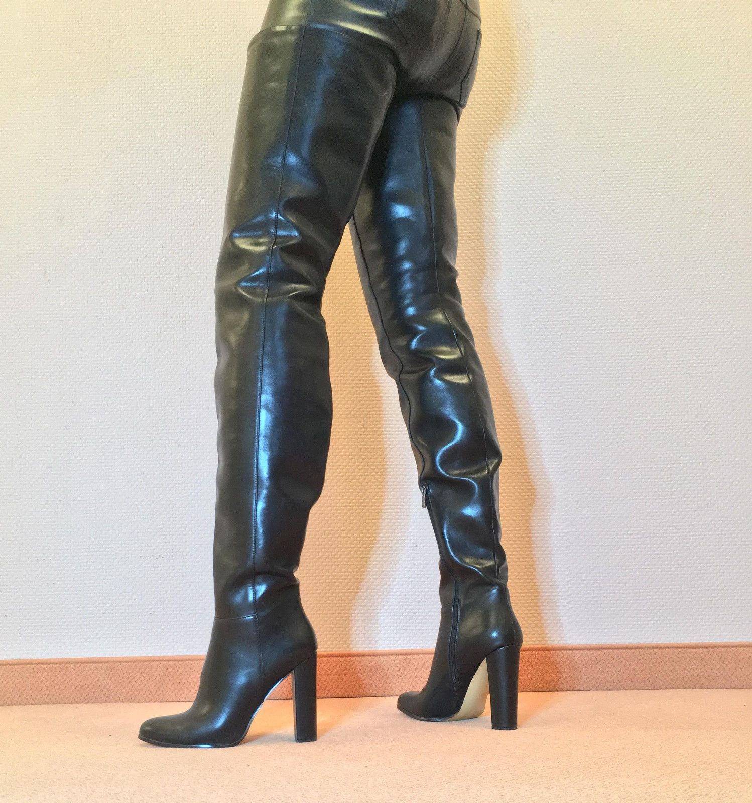 Gr.45 TOP ! Exklusiv Sexy Damen Schuhe Overknee Stiletto Stiefel Männer Boots C6