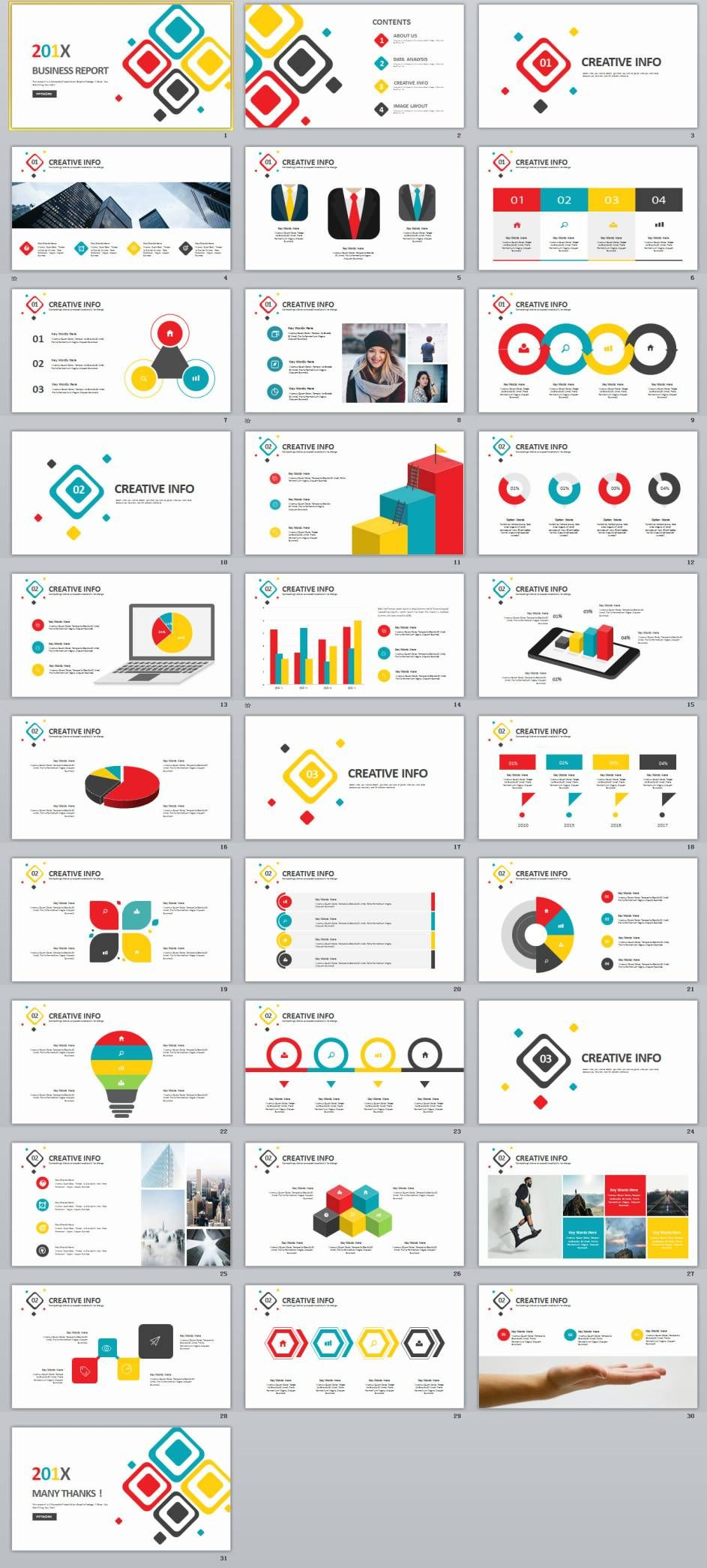 31 Multicolor Business Chart Powerpoint Presentations Template