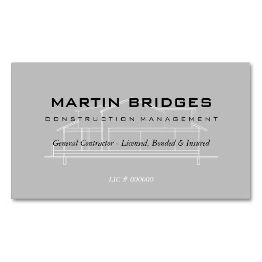 Modern General Construction Business Cards Construction - Home remodeling business cards