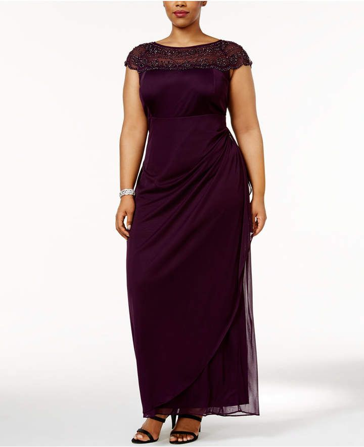 Msk Plus Size Embellished Ruched Cascade Gown Sponsred Plus