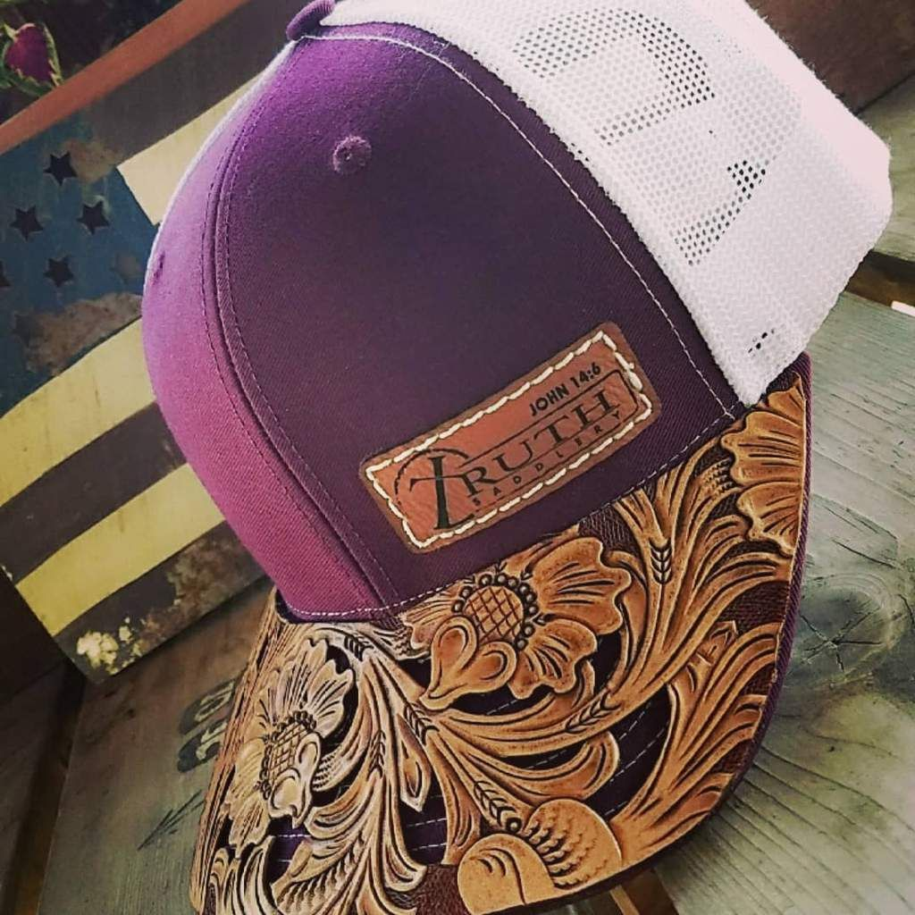 HAND TOOLED Leather Cap BRIM — TRUTH SADDLERY PATCH CAPS - Snap back