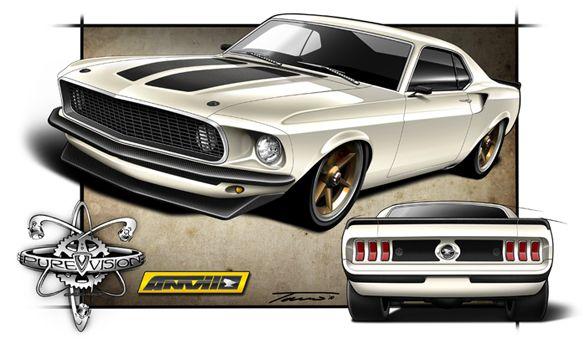 Pin By Robert Herrington On 1969 70 Mustangs Car Drawings Foose Automotive Illustration
