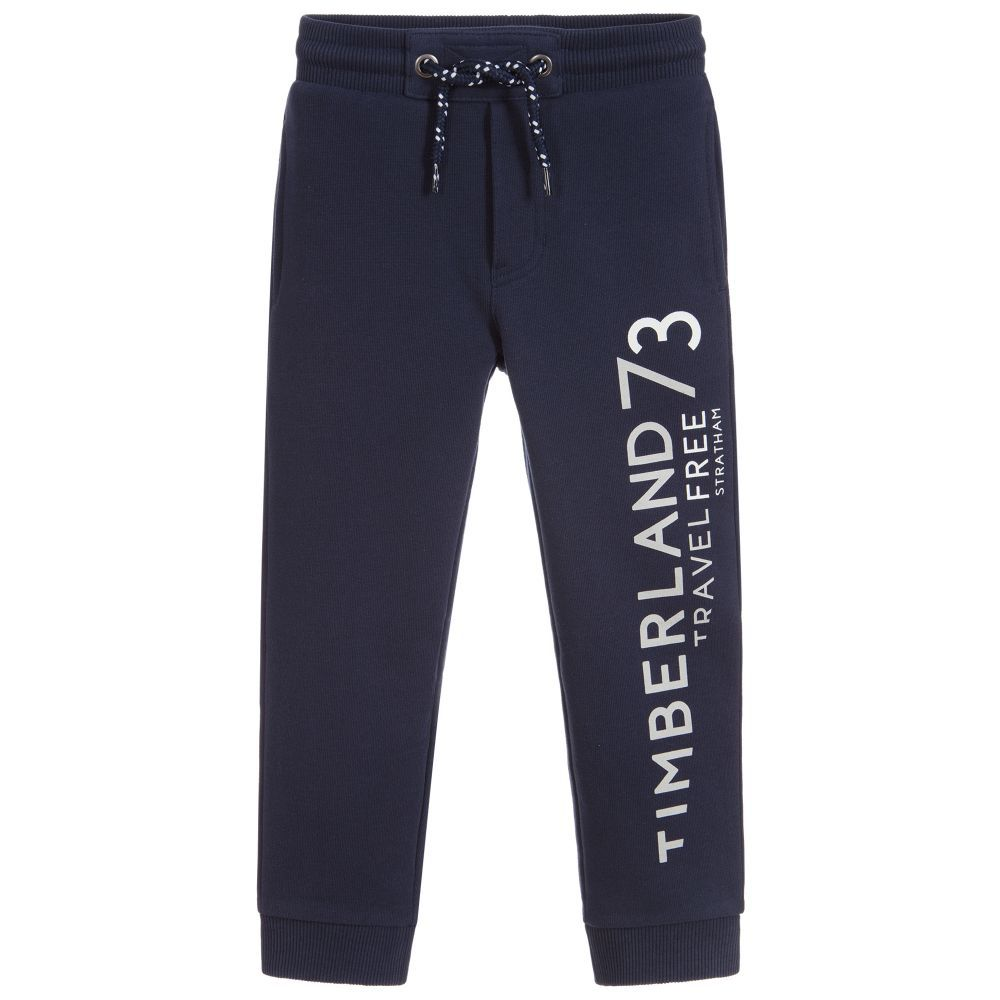 9aa55b38a53 Blue Cotton Logo Joggers for Boy by Timberland. Discover the latest  designer Trousers & Shorts for kids online