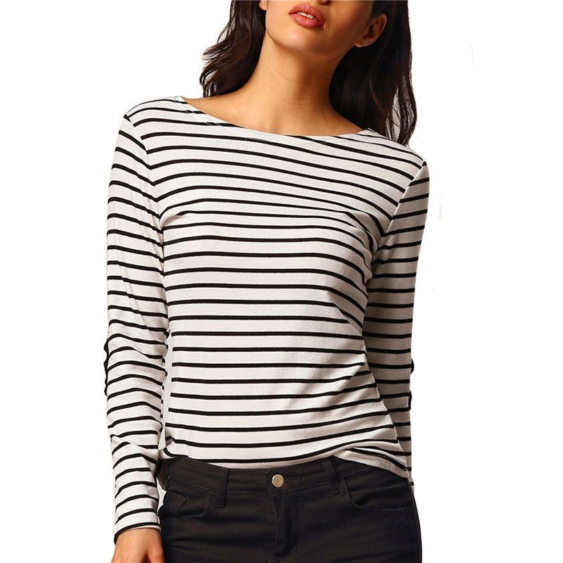 90bf0e4288 SheIn Woman Loose Tops New Tees Long Sleeve Black and White Elbow Patch  Striped Tee Shirt Basic Cheap T-Shirt