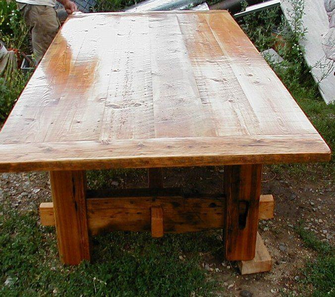 Barnwood Table With Trestle Base