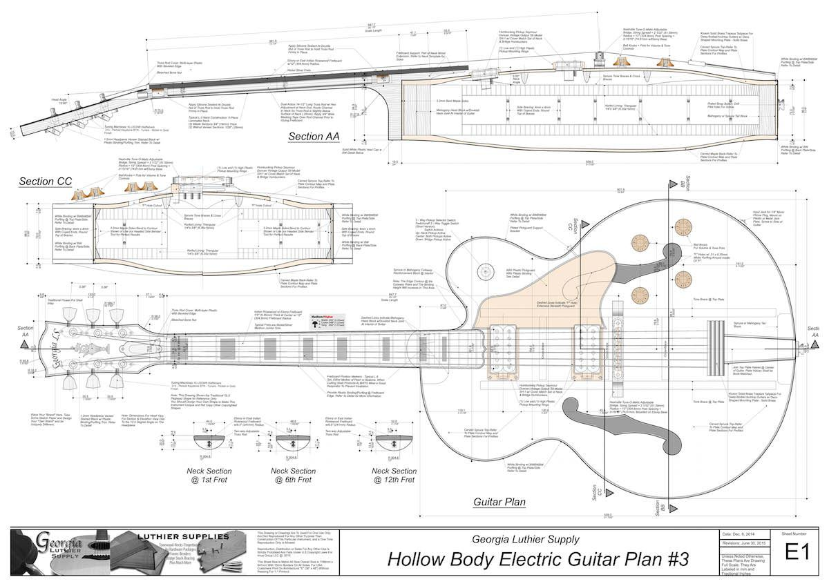 Hollowbody Electric Guitar Plans #3: Electronic Version