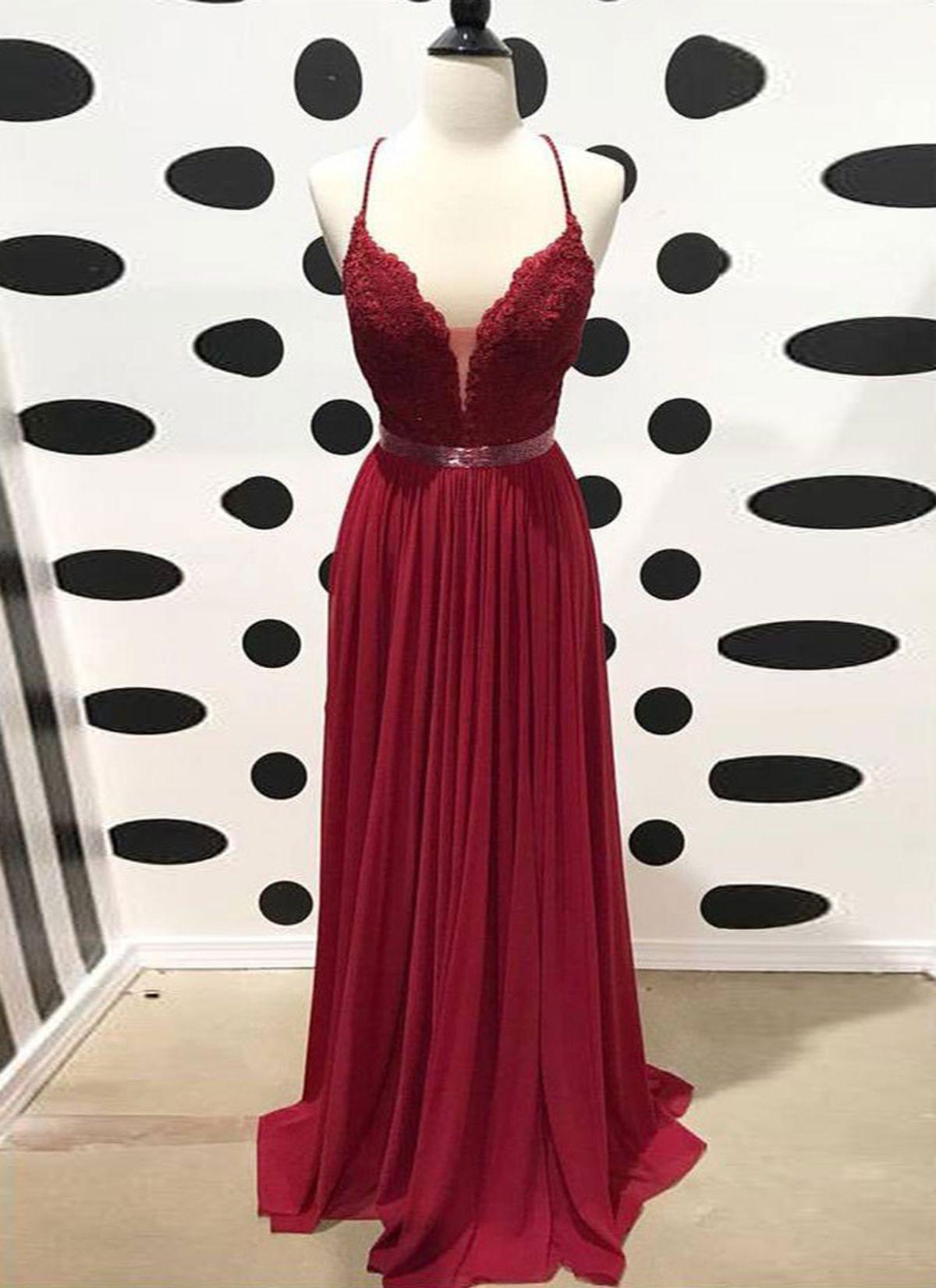 Burgundy chiffon open back long evening dress long lace prom dress