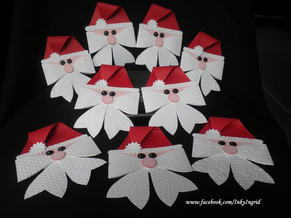 Paper Craft Christmas Card Ideas Part - 35: Santa Made With Stampin Up Bow Die