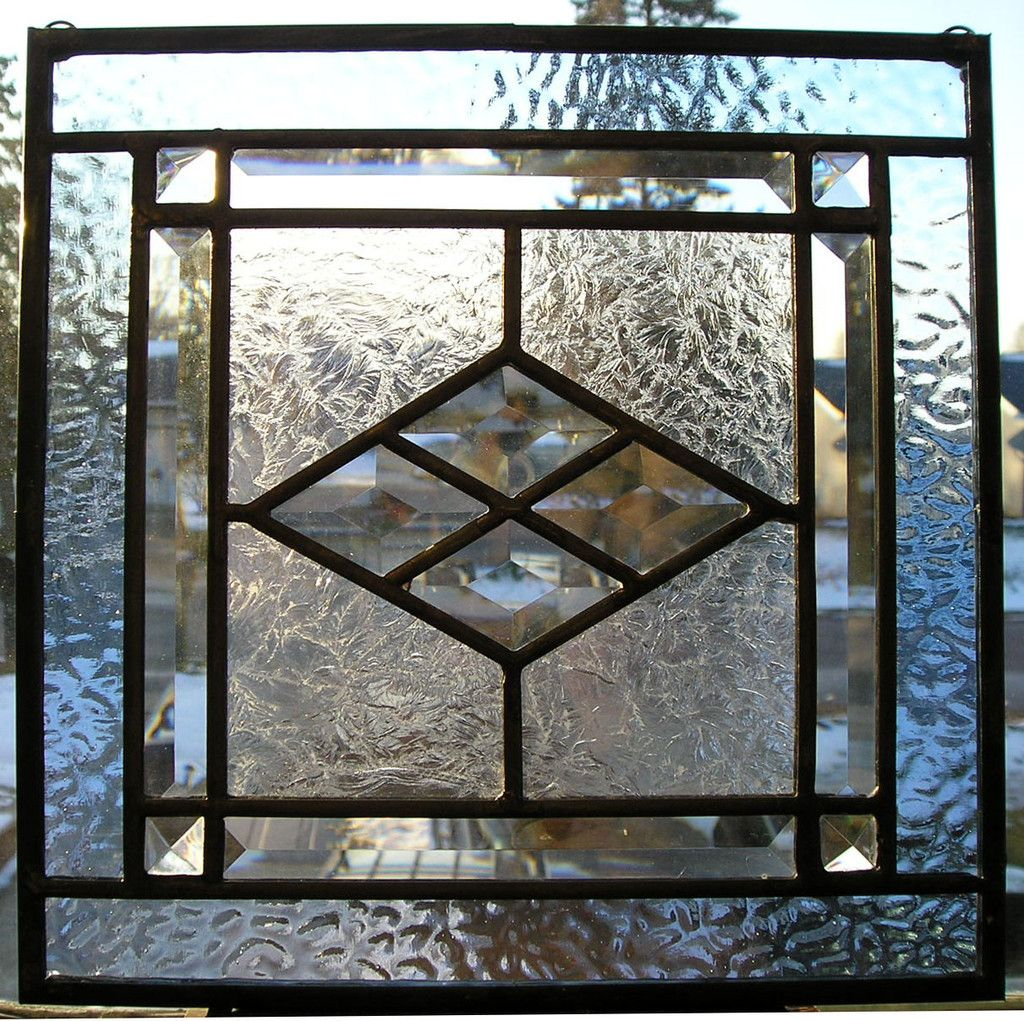 (A) Cute!  Small Vintage Style Clear Beveled Stained Glass Window - Great Gift - You Pick Color