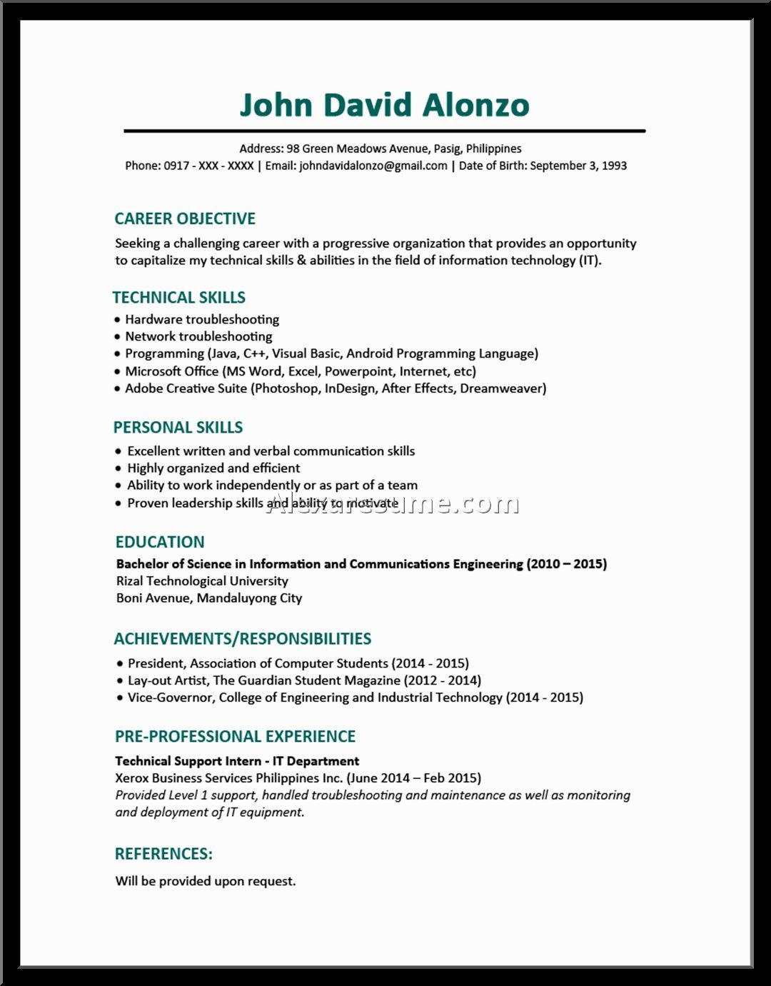 Best Curriculum Vitae For Fresh Graduate Good Resume Objective Examples  Retail Sales  Personal Objective Examples