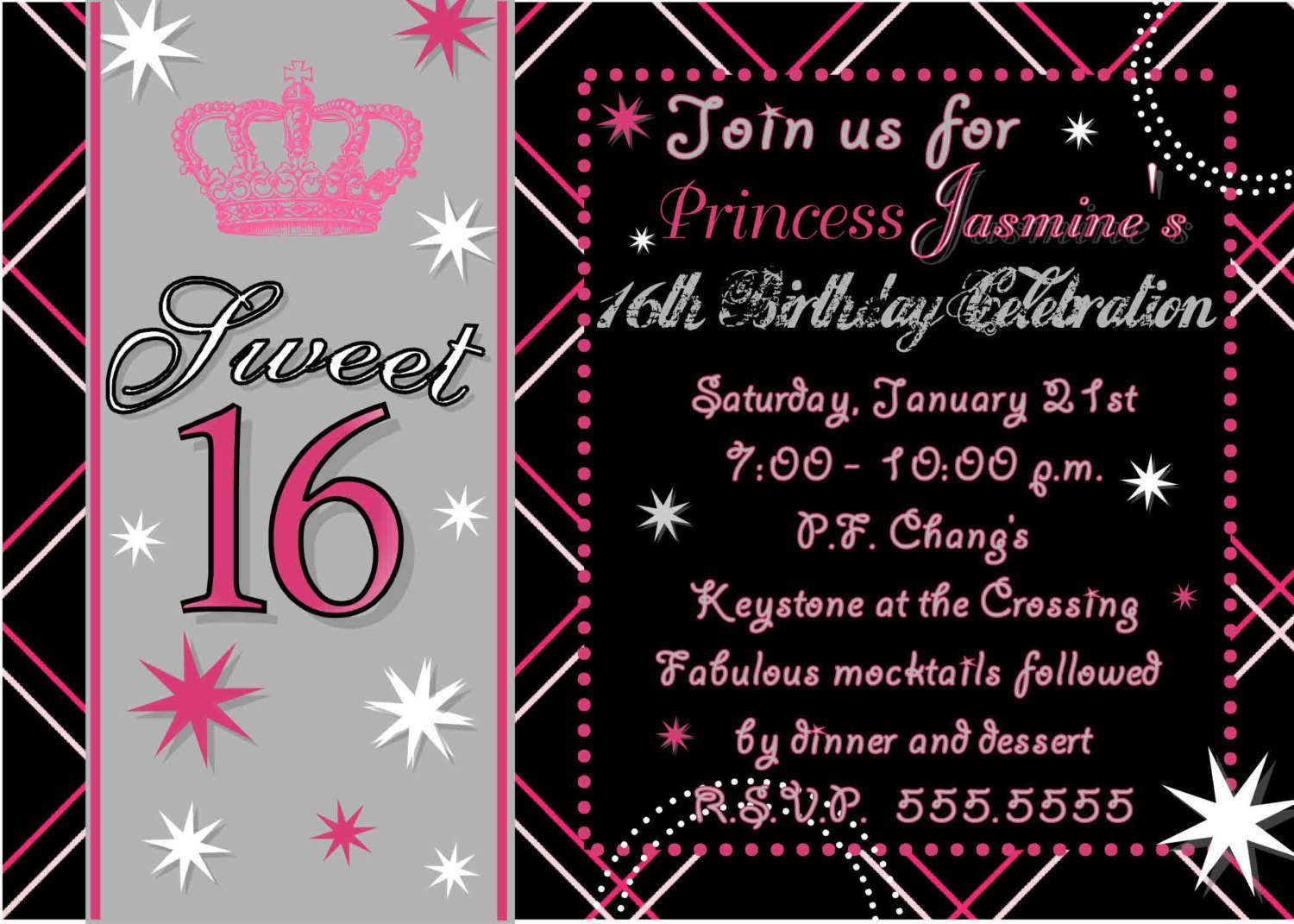 sweet 16 birthday invitations free
