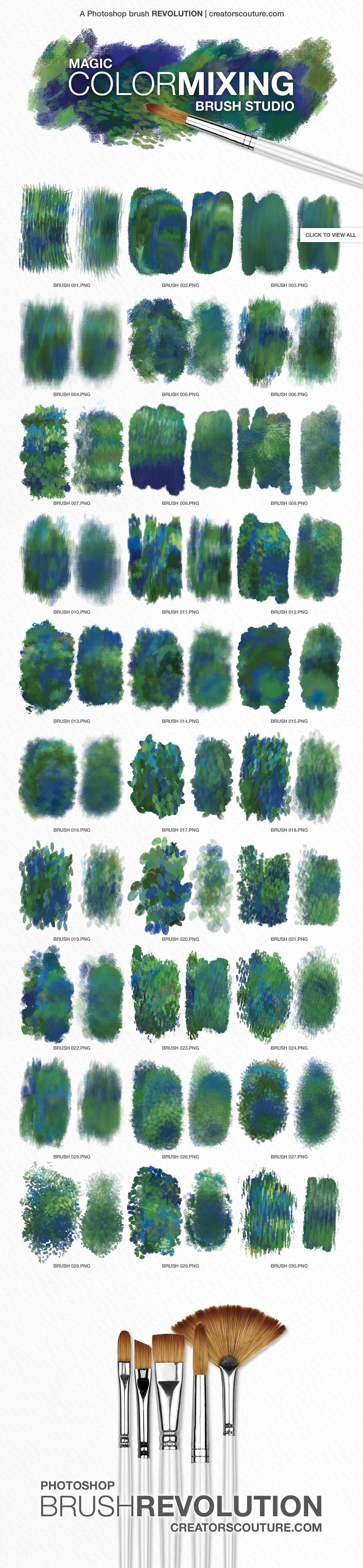 impressionist photoshop brushes. magic color-mixing photoshop brushes, perfect for graphic design, illustration, and designing printables!
