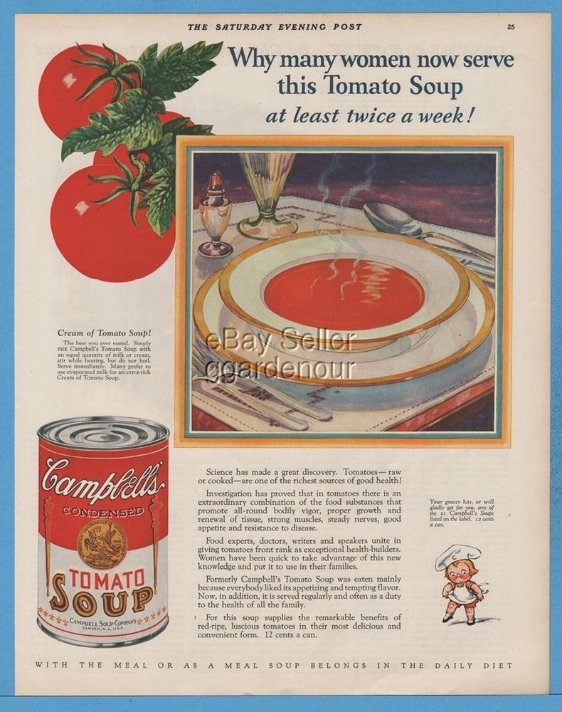 1928 Campbellu0027s Tomato Soup Kid Vintage Campbells Kitchen Decor Camden NJ Ad