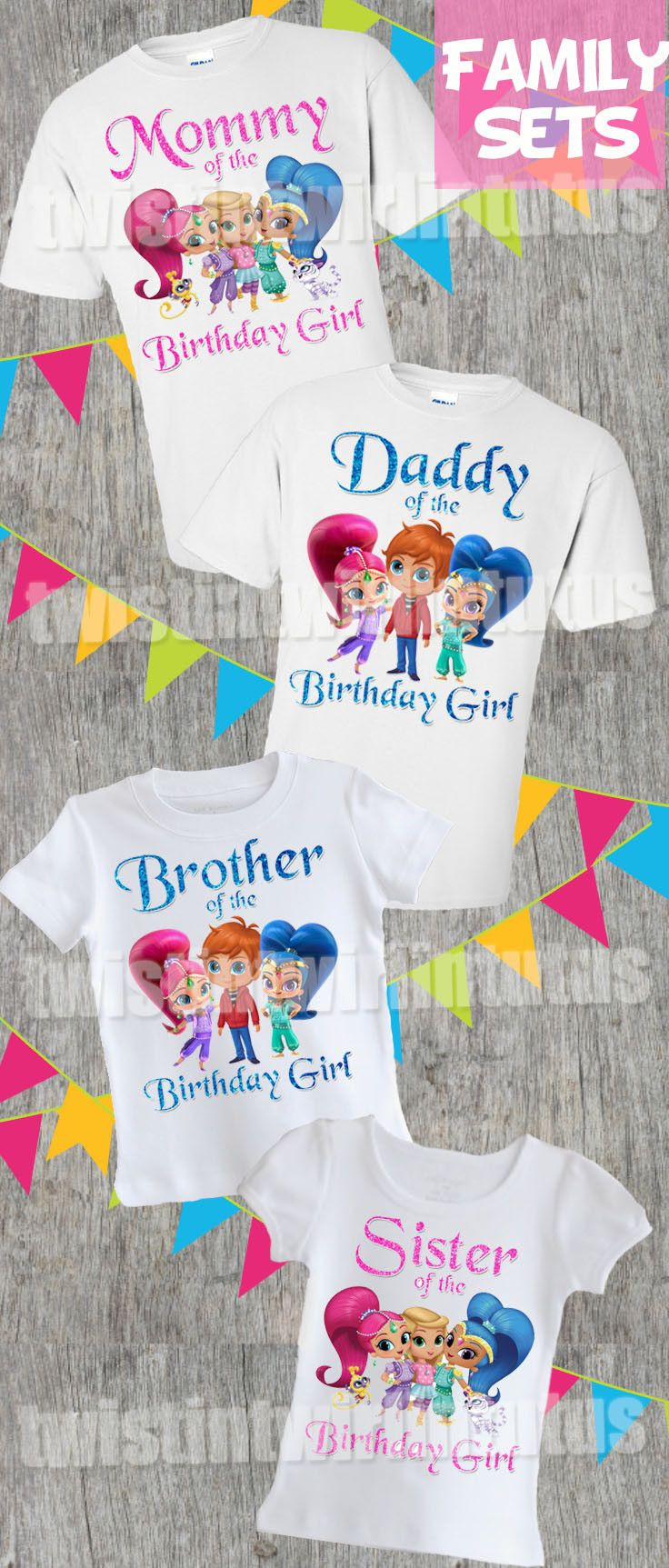 Shimmer And Shine Family Birthday Shirts