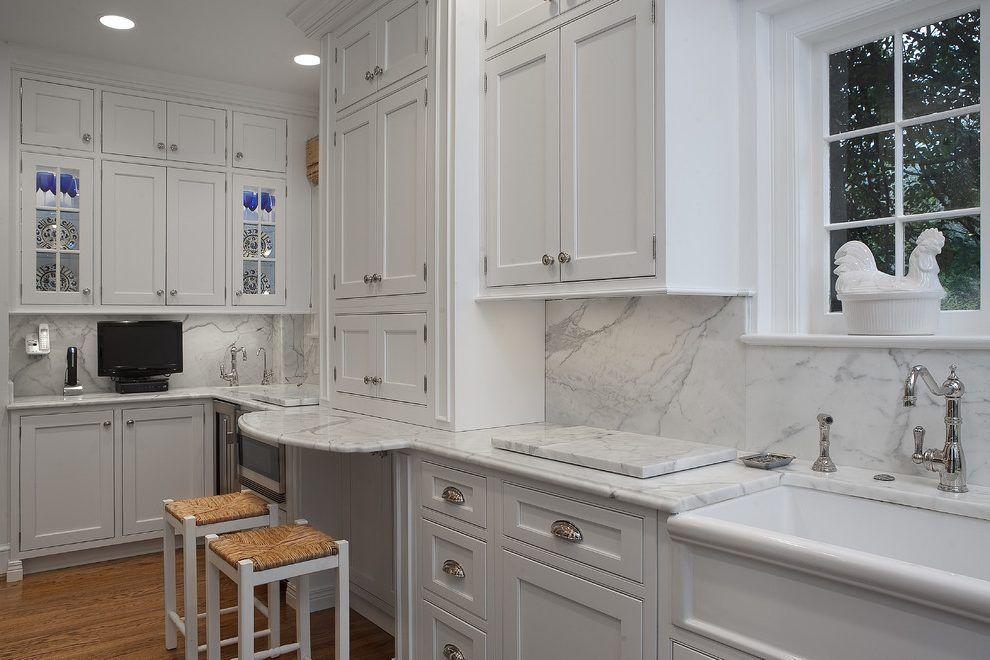 carrera marble backsplash kitchen traditional with bar ...