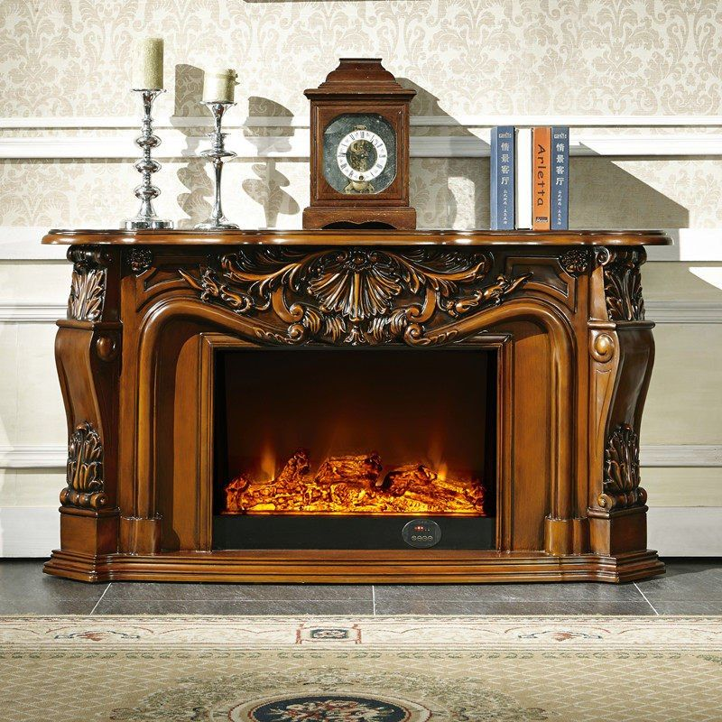 Living Room Decorating Warming Fireplace W148cm Wood Fireplace
